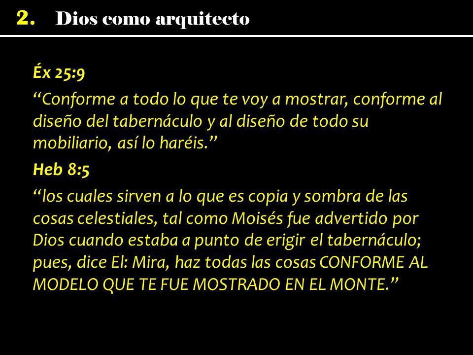 Éx 25:9 Conforme a todo lo que te voy a mostrar, conforme al diseño del tabernáculo y al diseño de todo su mobiliario, así lo haréis.
