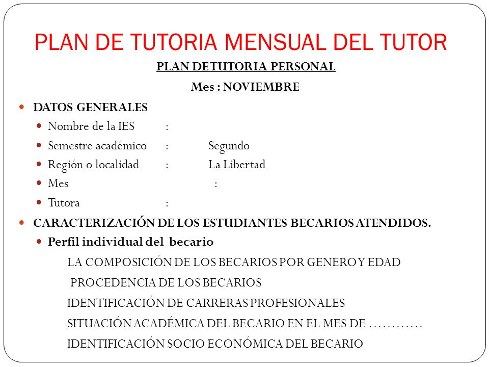 PLAN DE TUTORIA MENSUAL DEL TUTOR