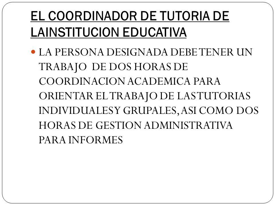 EL COORDINADOR DE TUTORIA DE LAINSTITUCION EDUCATIVA