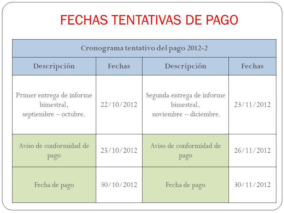 FECHAS TENTATIVAS DE PAGO