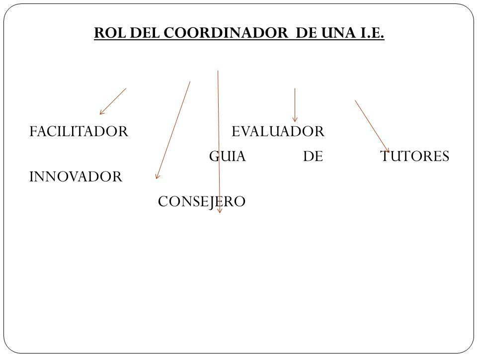 ROL DEL COORDINADOR DE UNA I. E