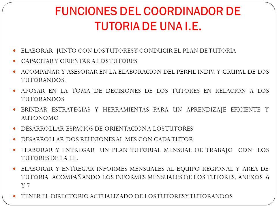 FUNCIONES DEL COORDINADOR DE TUTORIA DE UNA I.E.