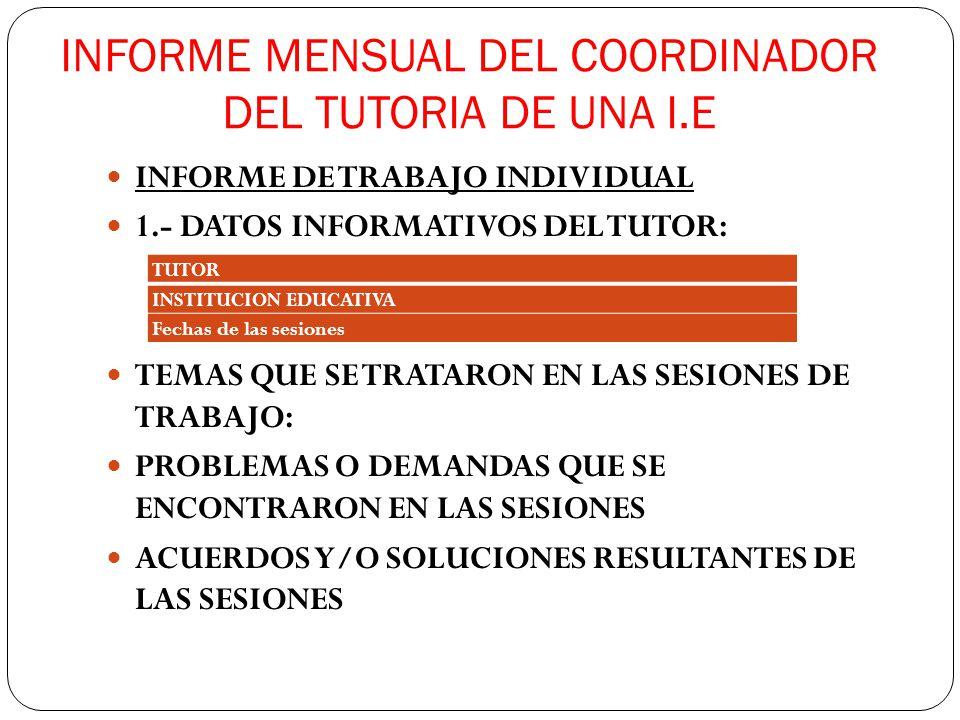 INFORME MENSUAL DEL COORDINADOR DEL TUTORIA DE UNA I.E