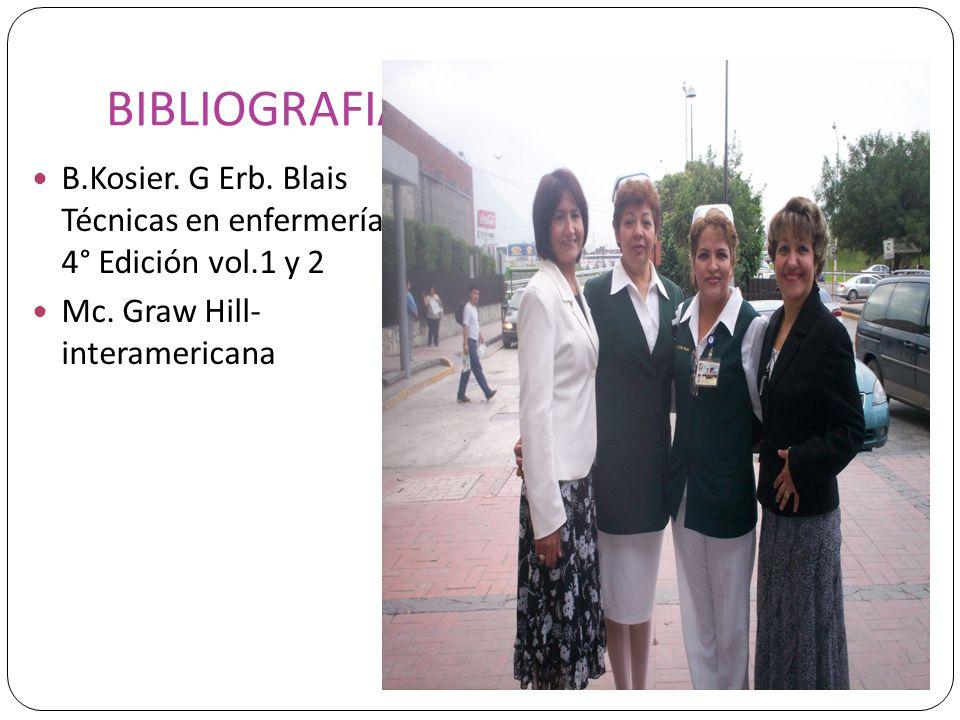 BIBLIOGRAFIA B.Kosier. G Erb. Blais Técnicas en enfermería 4° Edición vol.1 y 2.