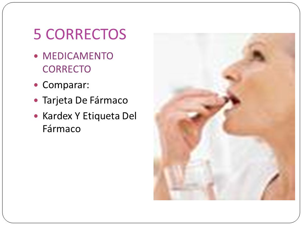 5 CORRECTOS MEDICAMENTO CORRECTO Comparar: Tarjeta De Fármaco