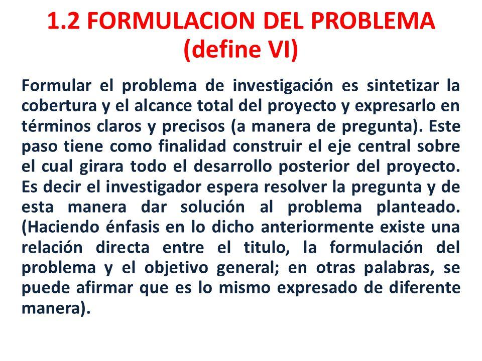 1.2 FORMULACION DEL PROBLEMA (define VI)
