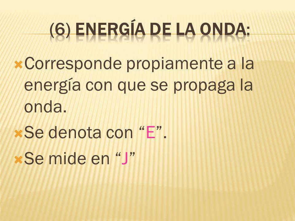 (6) Energía de la onda: Corresponde propiamente a la energía con que se propaga la onda. Se denota con E .