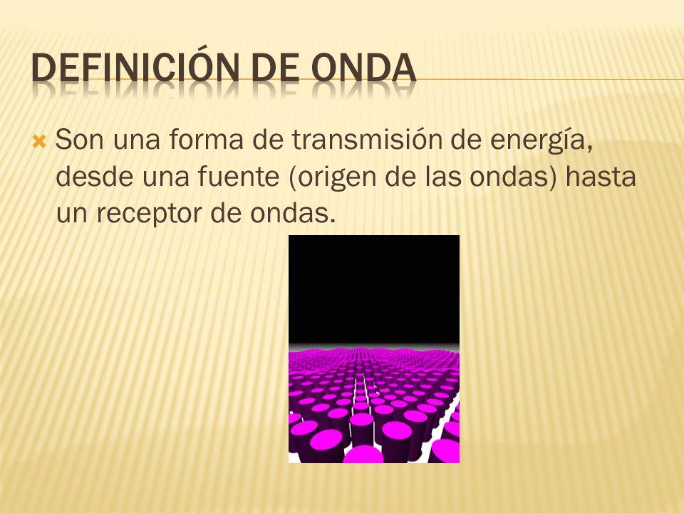 DEFINICIÓN DE ONDA Son una forma de transmisión de energía, desde una fuente (origen de las ondas) hasta un receptor de ondas.