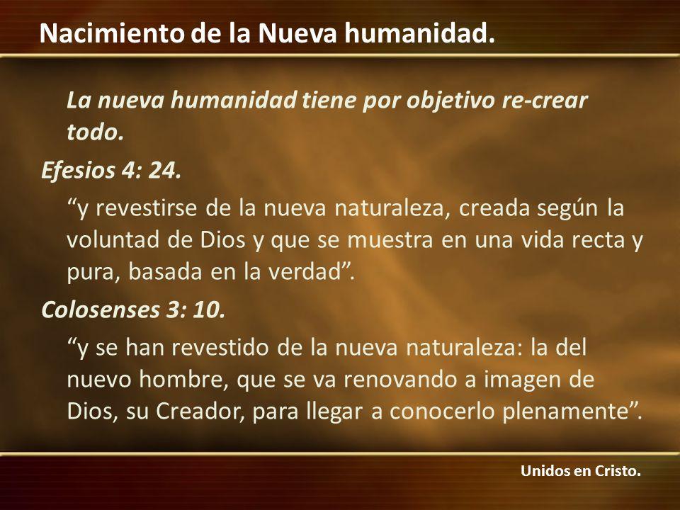 La nueva humanidad tiene por objetivo re-crear todo. Efesios 4: 24