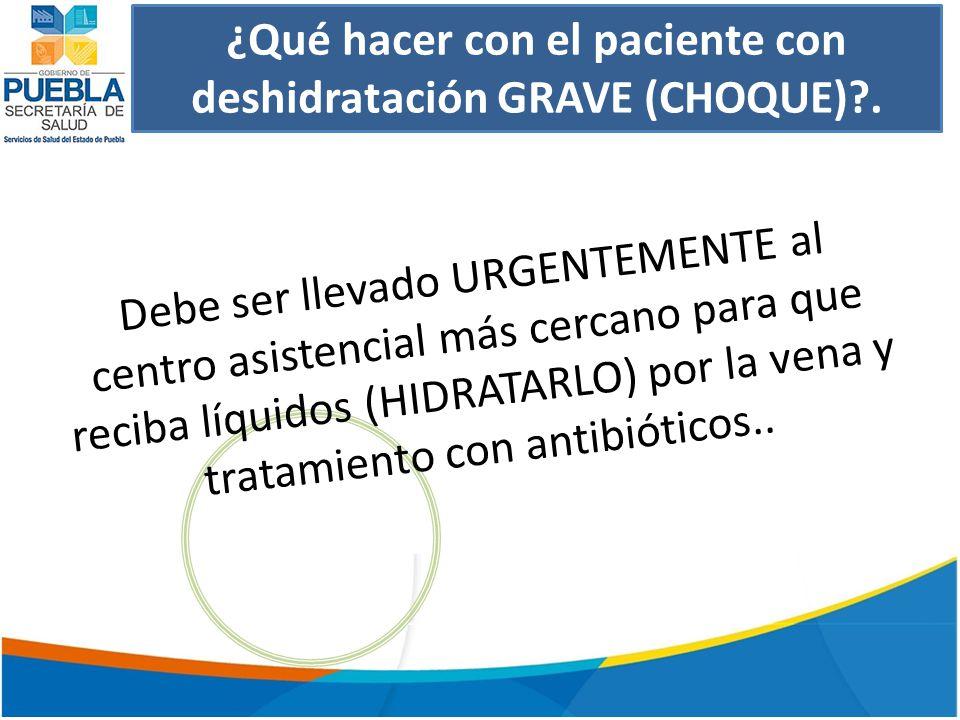 ¿Qué hacer con el paciente con deshidratación GRAVE (CHOQUE) .