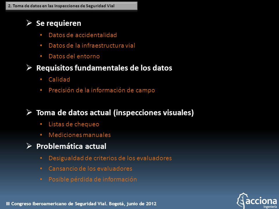 Requisitos fundamentales de los datos