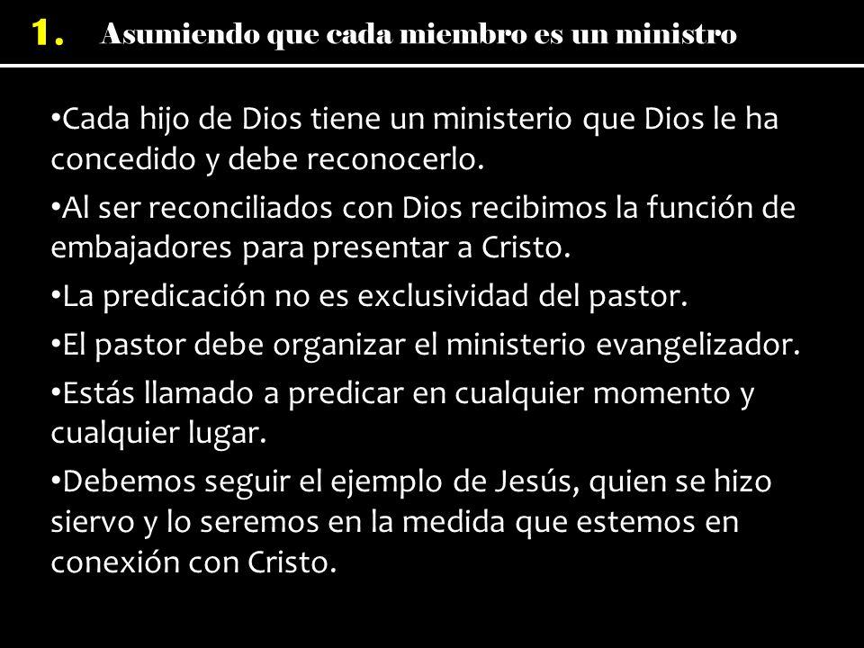 Cada hijo de Dios tiene un ministerio que Dios le ha concedido y debe reconocerlo.