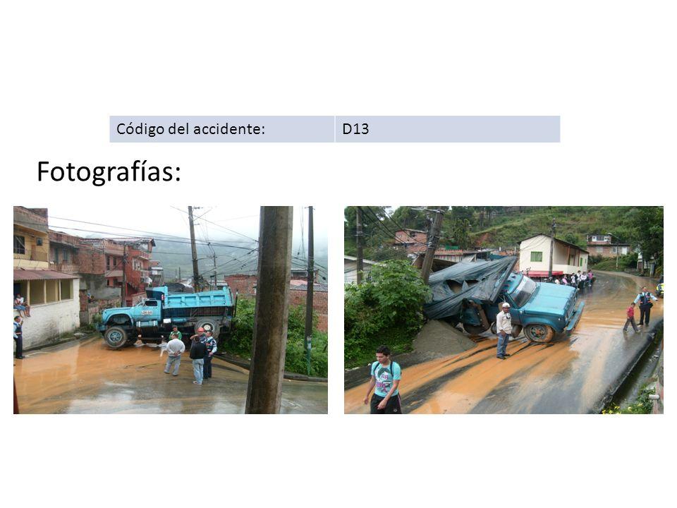 Código del accidente: D13 Fotografías: