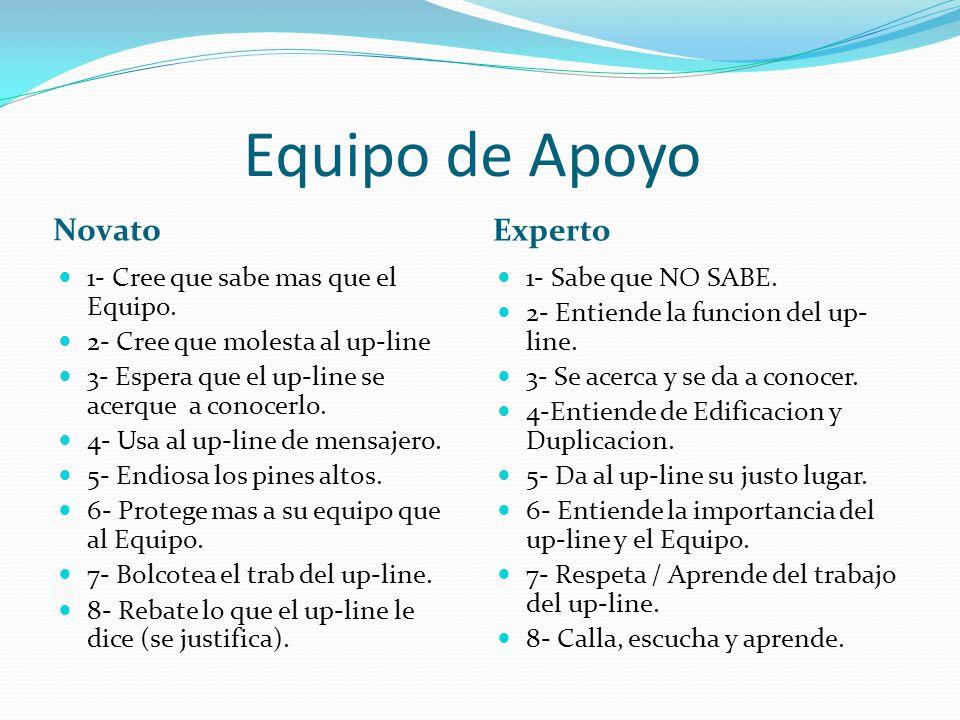 Equipo de Apoyo Novato Experto 1- Cree que sabe mas que el Equipo.