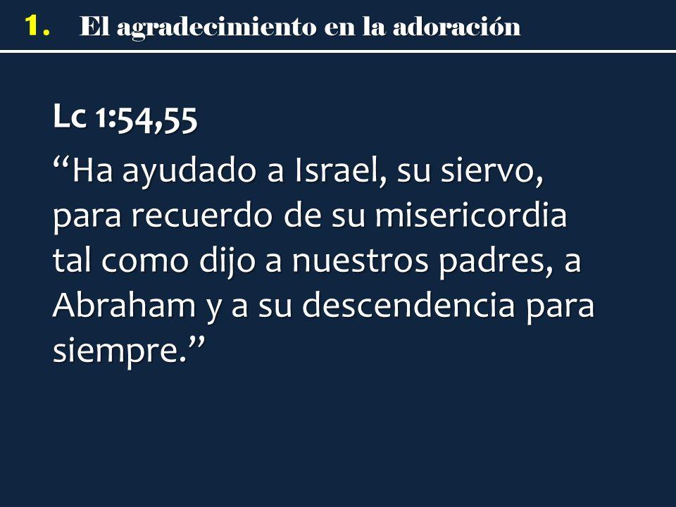 Lc 1:54,55 Ha ayudado a Israel, su siervo, para recuerdo de su misericordia tal como dijo a nuestros padres, a Abraham y a su descendencia para siempre.