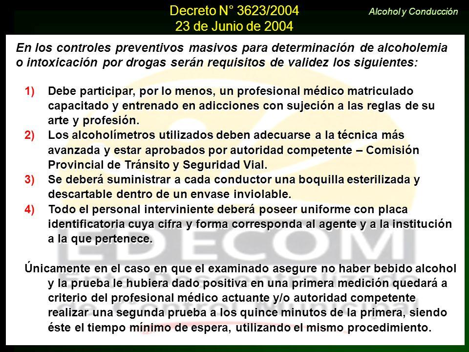 Decreto N° 3623/2004 23 de Junio de 2004. Alcohol y Conducción. En los controles preventivos masivos para determinación de alcoholemia.