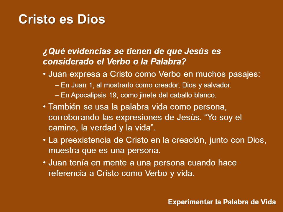 Juan expresa a Cristo como Verbo en muchos pasajes: