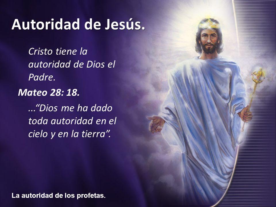 Cristo tiene la autoridad de Dios el Padre.
