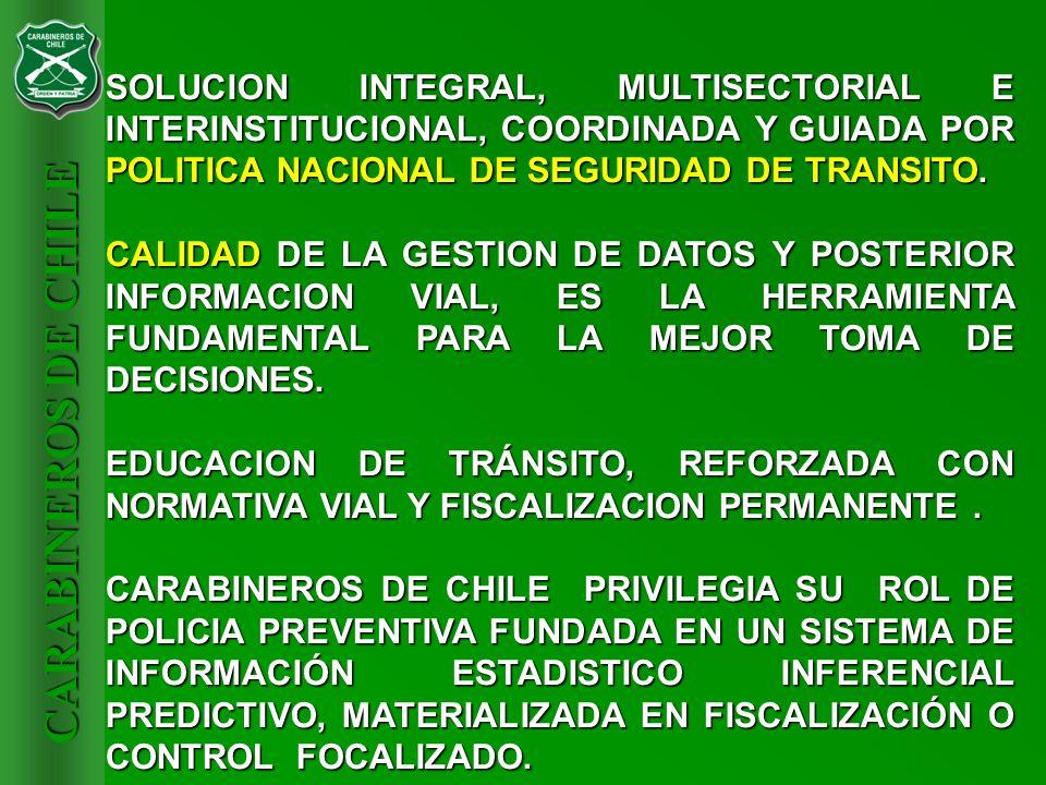 SOLUCION INTEGRAL, MULTISECTORIAL E INTERINSTITUCIONAL, COORDINADA Y GUIADA POR POLITICA NACIONAL DE SEGURIDAD DE TRANSITO.