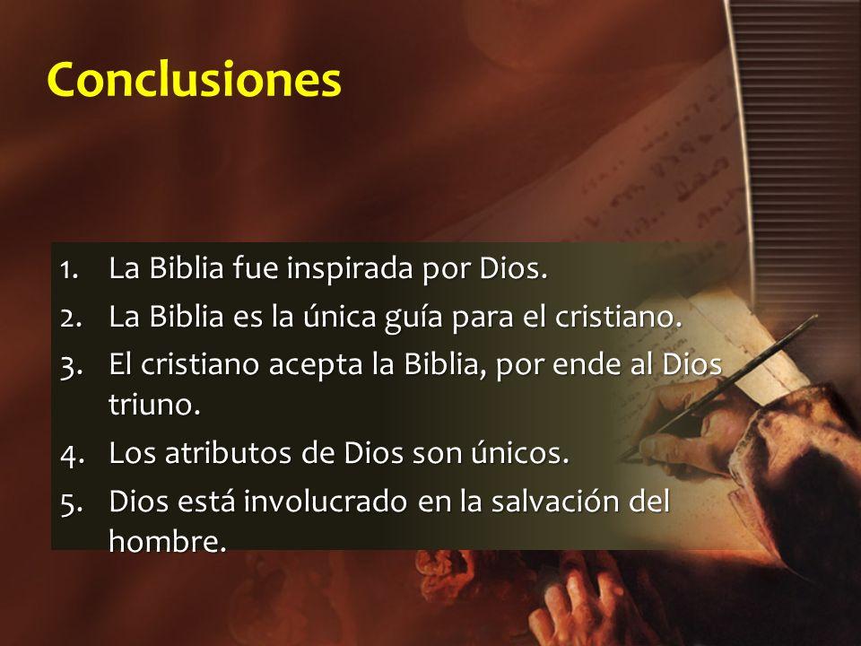 Conclusiones La Biblia fue inspirada por Dios.