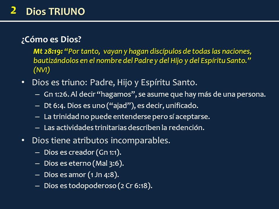 Dios es triuno: Padre, Hijo y Espíritu Santo.