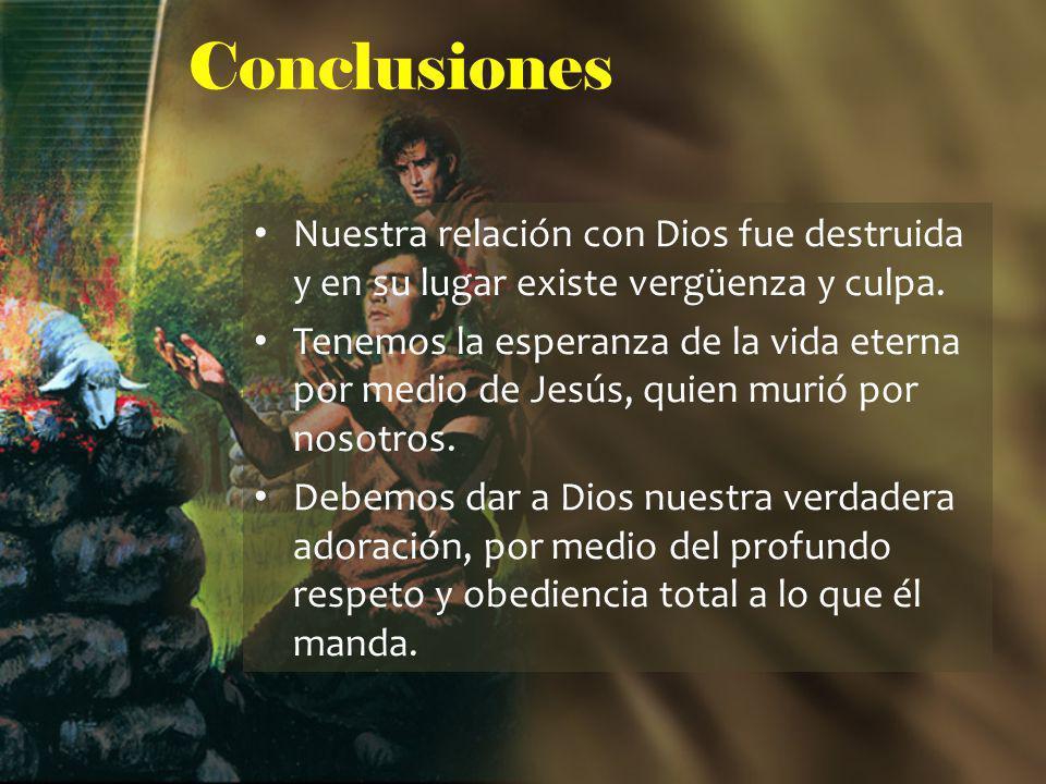 Conclusiones Nuestra relación con Dios fue destruida y en su lugar existe vergüenza y culpa.