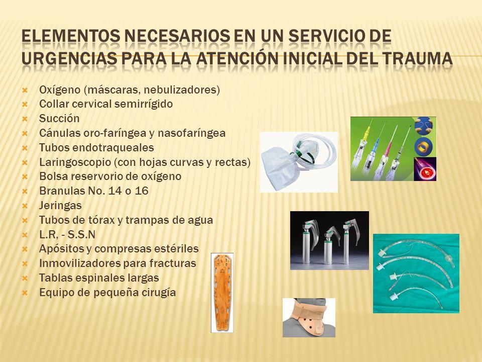 ELEMENTOS NECESARIOS EN UN SERVICIO DE URGENCIAS PARA LA ATENCIÓN INICIAL DEL TRAUMA