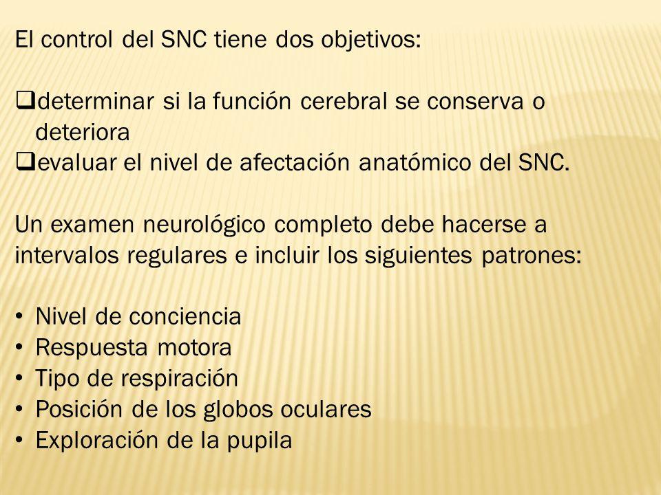El control del SNC tiene dos objetivos: