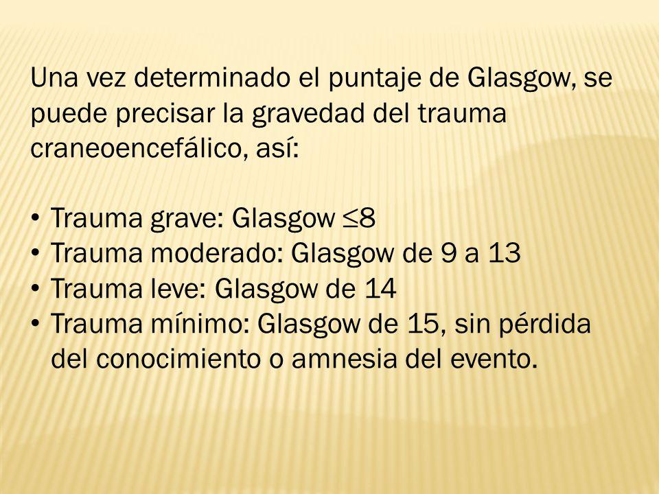 Una vez determinado el puntaje de Glasgow, se puede precisar la gravedad del trauma craneoencefálico, así: