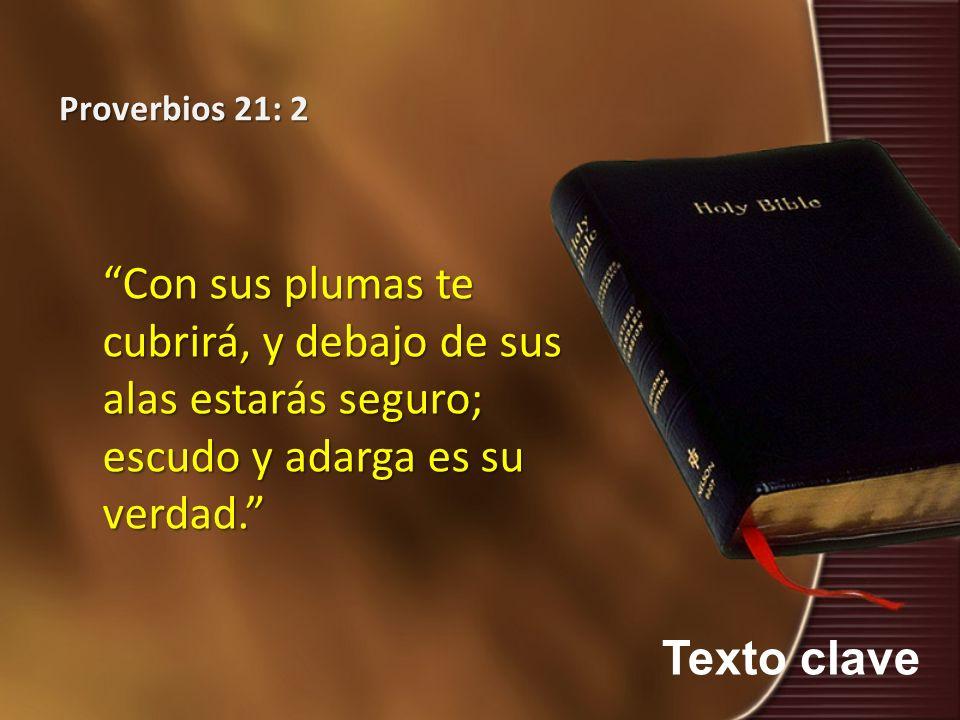Proverbios 21: 2 Con sus plumas te cubrirá, y debajo de sus alas estarás seguro; escudo y adarga es su verdad.