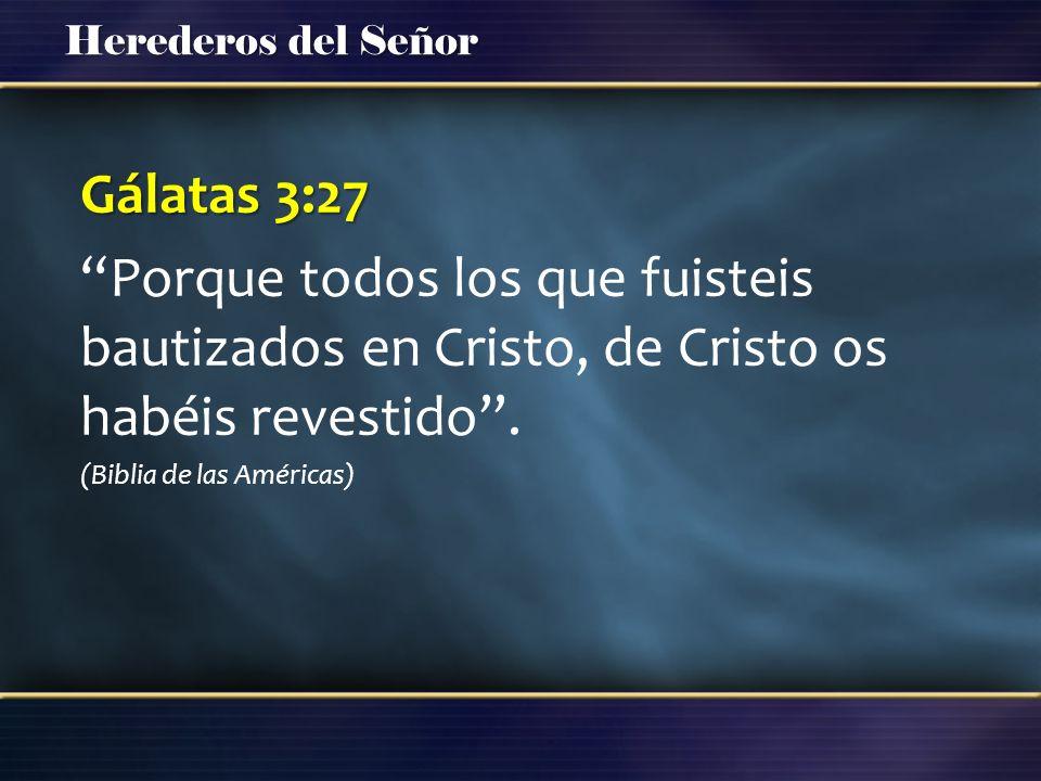 Gálatas 3:27 Porque todos los que fuisteis bautizados en Cristo, de Cristo os habéis revestido .