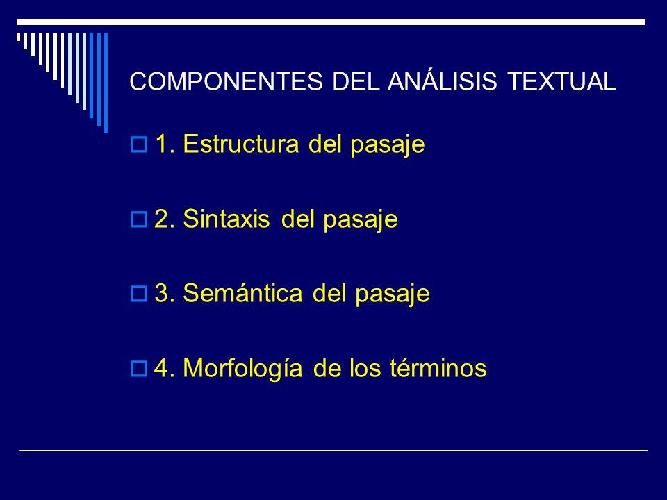 COMPONENTES DEL ANÁLISIS TEXTUAL