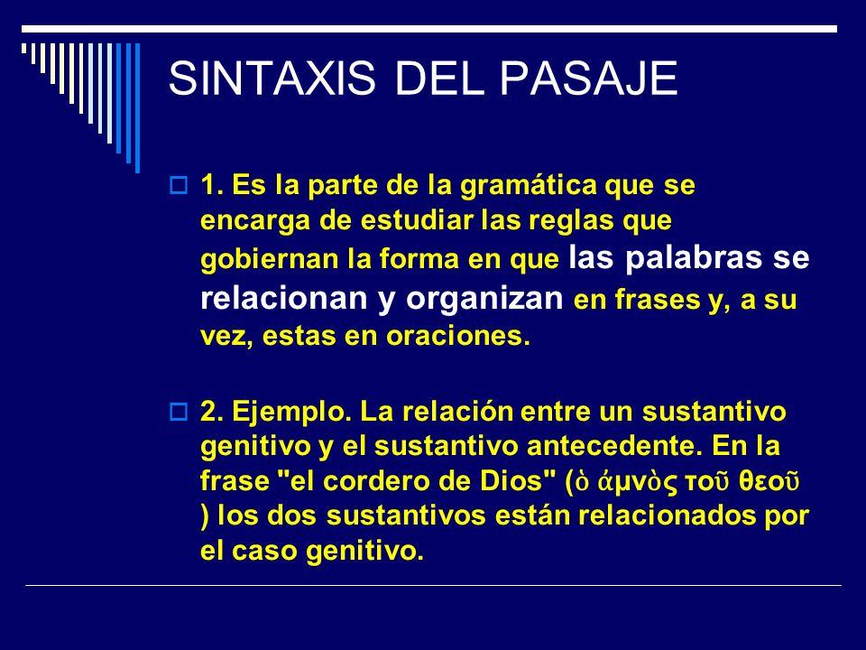 SINTAXIS DEL PASAJE