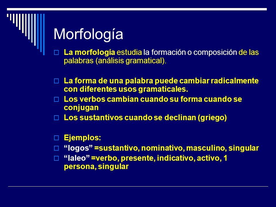 Morfología La morfología estudia la formación o composición de las palabras (análisis gramatical).
