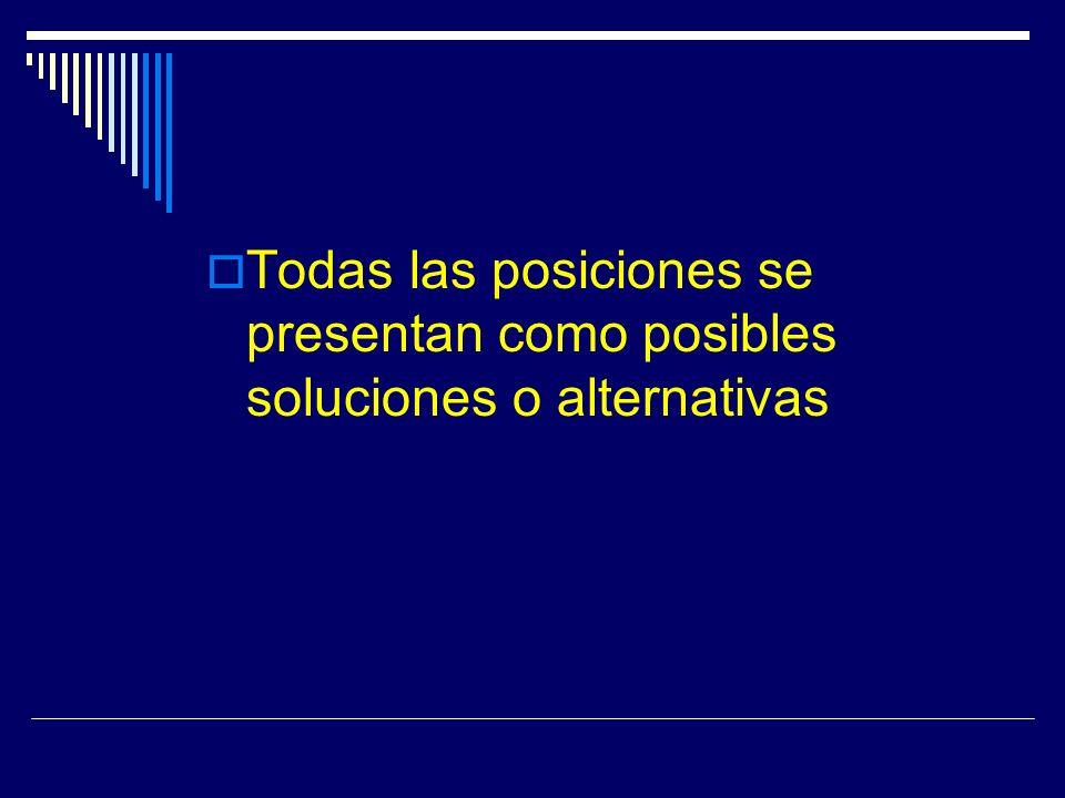 Todas las posiciones se presentan como posibles soluciones o alternativas