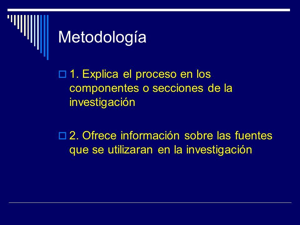 Metodología 1. Explica el proceso en los componentes o secciones de la investigación.