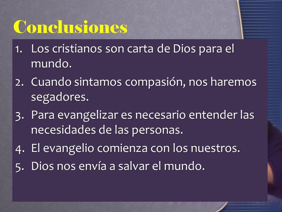 Conclusiones Los cristianos son carta de Dios para el mundo.