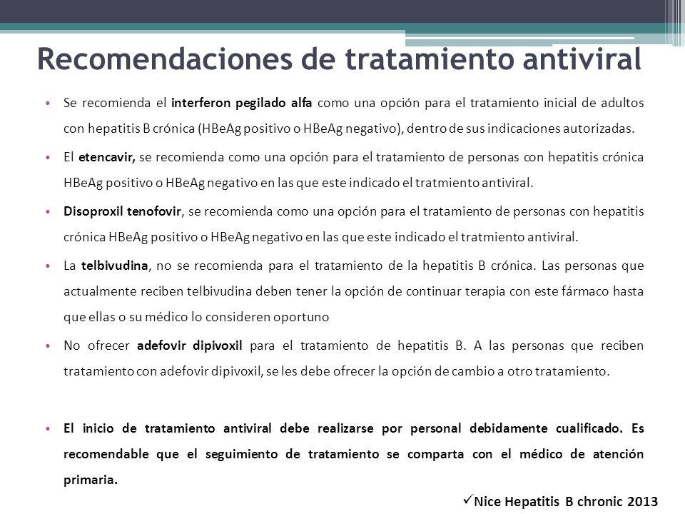 Recomendaciones de tratamiento antiviral