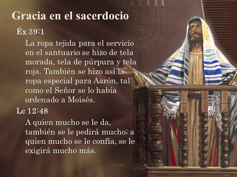 Éx 39:1 La ropa tejida para el servicio en el santuario se hizo de tela morada, tela de púrpura y tela roja.