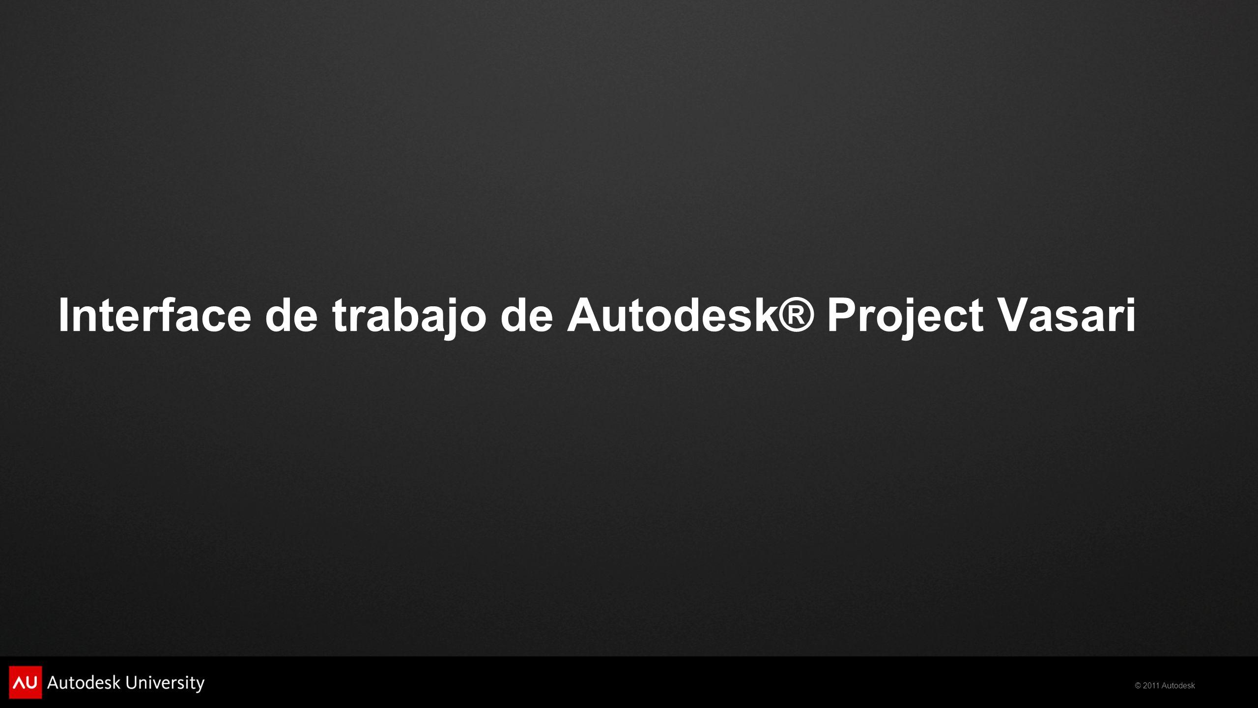 Interface de trabajo de Autodesk® Project Vasari