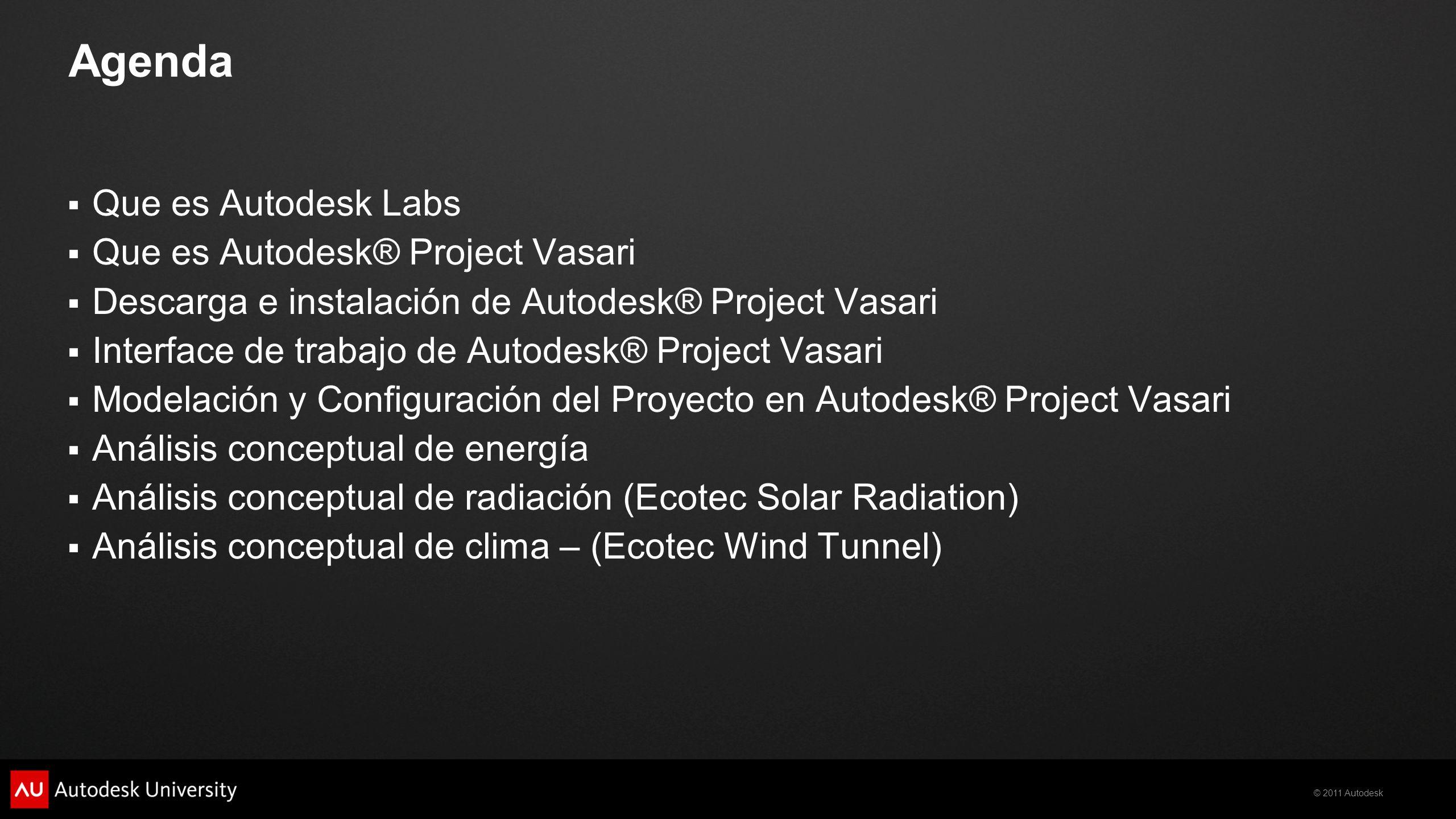 Agenda Que es Autodesk Labs Que es Autodesk® Project Vasari
