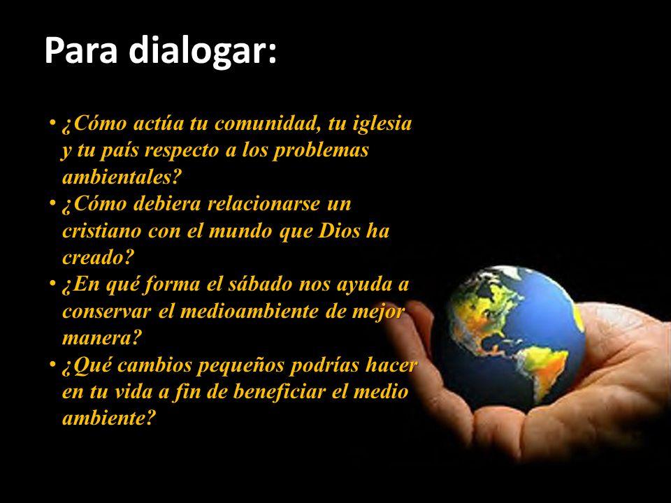Para dialogar: ¿Cómo actúa tu comunidad, tu iglesia y tu país respecto a los problemas ambientales