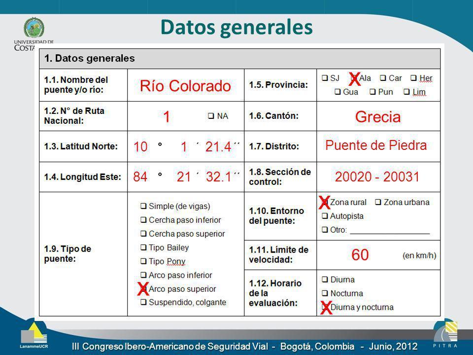 x x x x Datos generales Río Colorado 1 Grecia 60 10 1 21.4