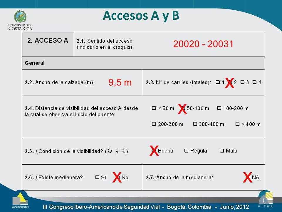 Accesos A y B 20020 - 20031. x. 9,5 m. x. x.