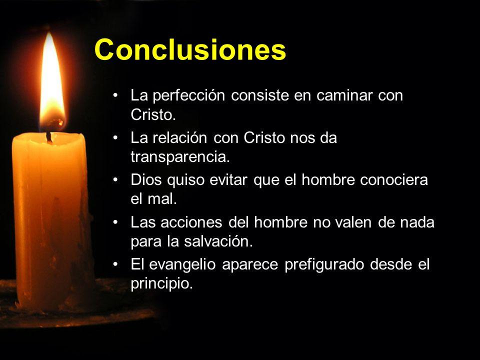 Conclusiones La perfección consiste en caminar con Cristo.