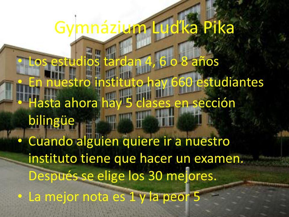 Gymnázium Luďka Pika Los estudios tardan 4, 6 o 8 años