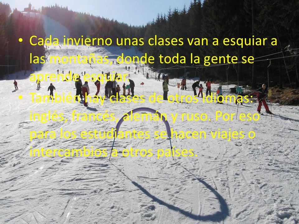 Cada invierno unas clases van a esquiar a las montañas, donde toda la gente se aprende esquiar.