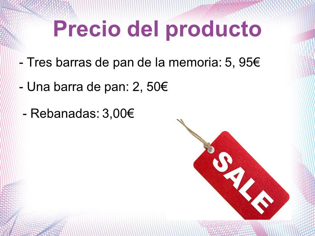 Precio del producto - Tres barras de pan de la memoria: 5, 95€