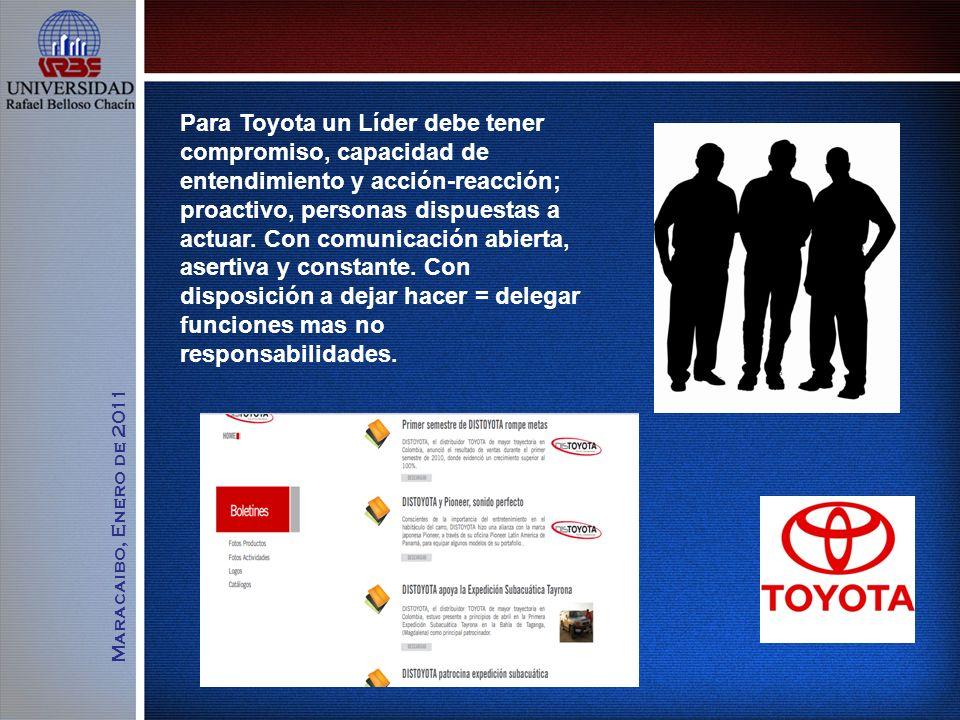 Para Toyota un Líder debe tener compromiso, capacidad de entendimiento y acción-reacción; proactivo, personas dispuestas a actuar. Con comunicación abierta, asertiva y constante. Con disposición a dejar hacer = delegar funciones mas no responsabilidades.