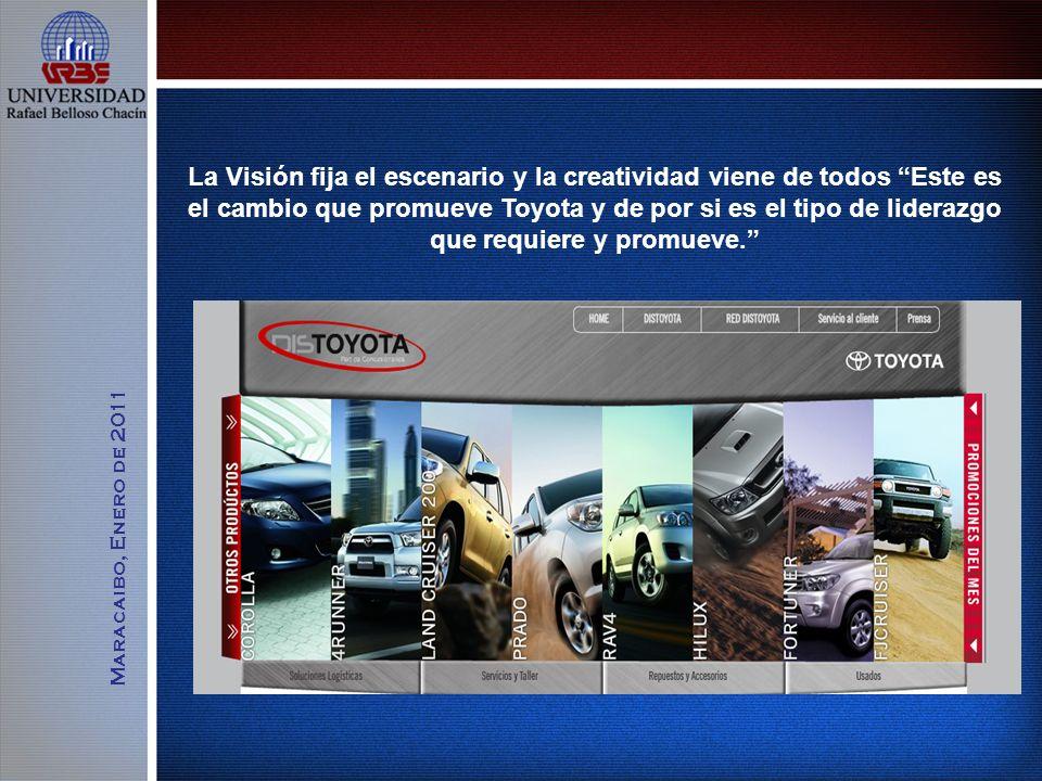 La Visión fija el escenario y la creatividad viene de todos Este es el cambio que promueve Toyota y de por si es el tipo de liderazgo que requiere y promueve.